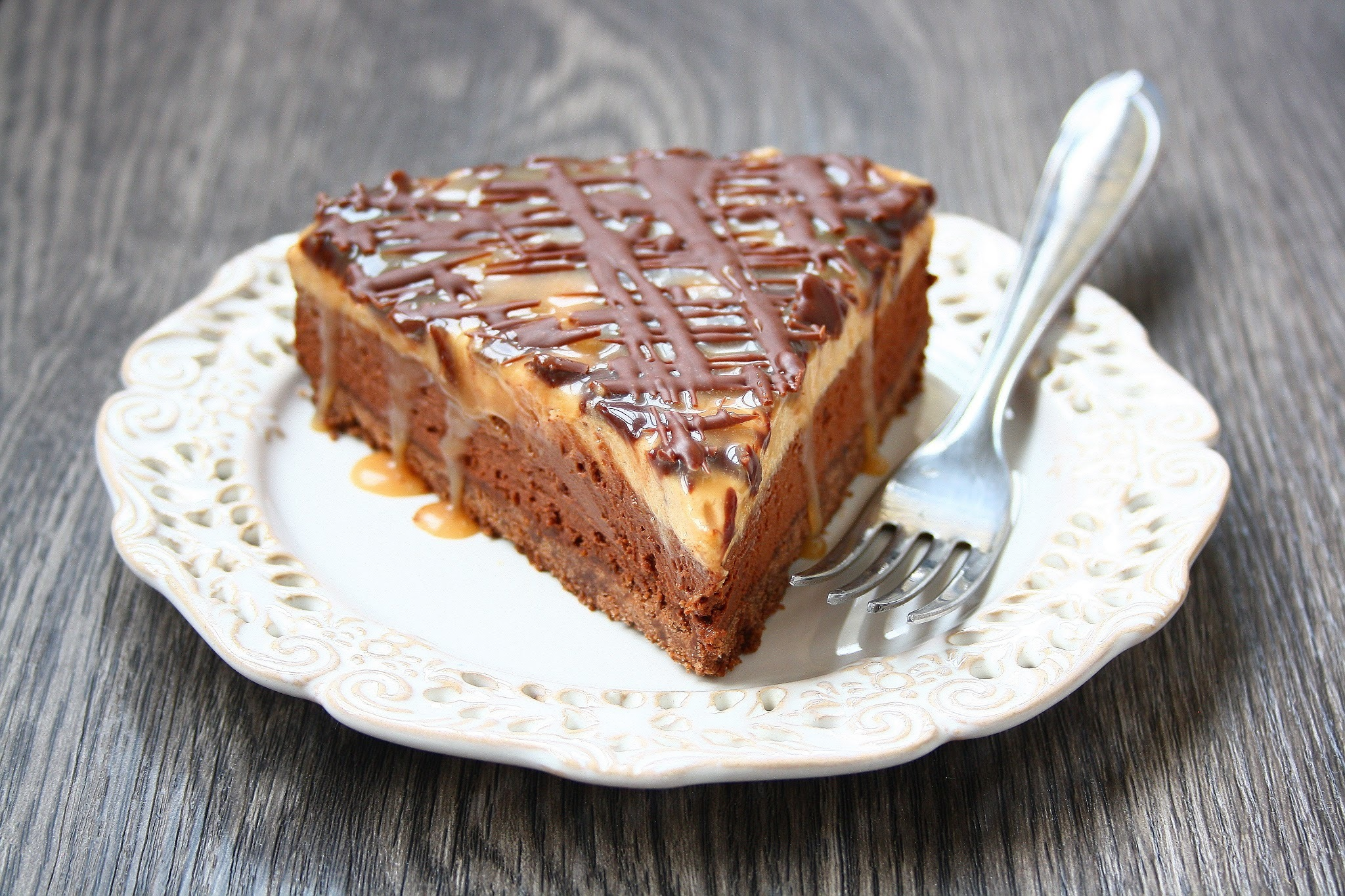 Chocolate Peanut Butter Mousse cake with Salted Caramel Sauce