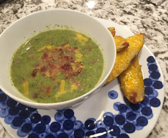 Broccoli Soup with Cheddar Potato Skins
