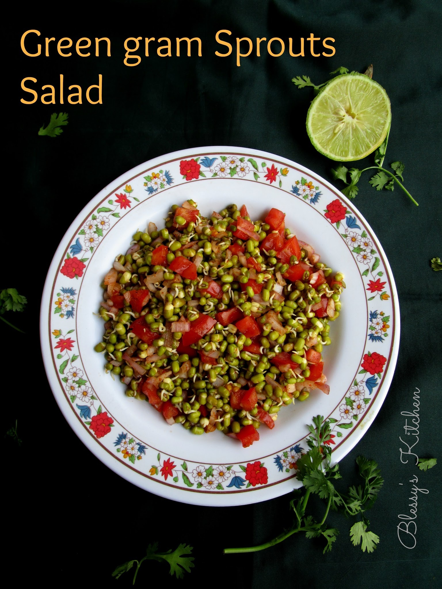 Green gram Sprouts Salad/ Mung Sprouts Salad/ Healthy Green gram Sprouts Salad/ Chatpati Mung Salad