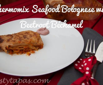 Thermomix Seafood Lasagna with Beetroot Béchamel