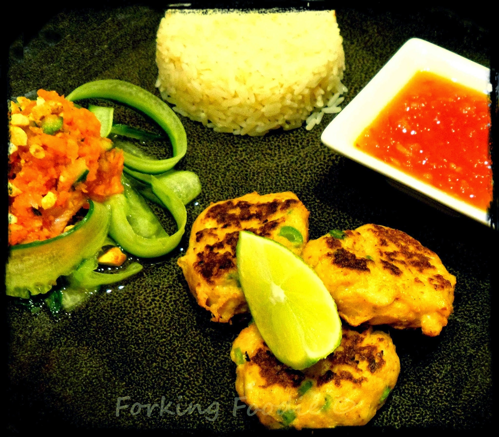Thai Crab Cakes or Fish Cakes with Sweet Chilli Sauce and Fresh Pickled Vegetable Relish - includes Thermomix method