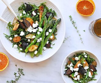 roasted fig + potato salad with asparagus, goat cheese + honey-orange balsamic vinaigrette