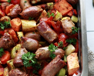 One Pan Devilled Sausage Bake