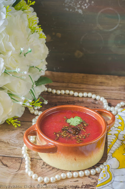 Beetroot Rasam- Beets and Lentil Soup, Southindian Soup