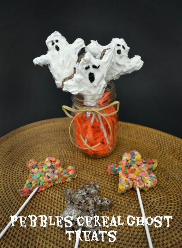 Halloween Snack Recipes – Pebbles Cereal Ghost Treats