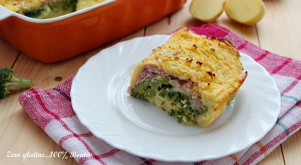 Tortino di patate con broccoli e prosciutto cotto