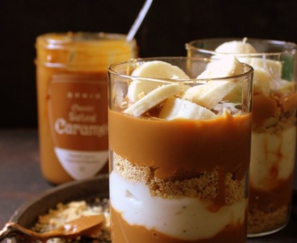 Salted Caramel Banana Biscuit Pudding