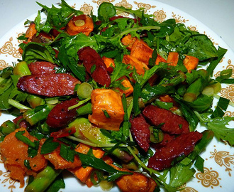 March 2009 - Chorizo, Asparagus & Kumara Salad with Green Chilli Dressing