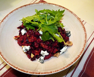 April 2003 - Beetroot Risotto with Goat's Cheese and Walnuts