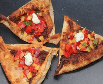 Brisket Stuffed Wonton Triangles with Mango Salsa Recipe