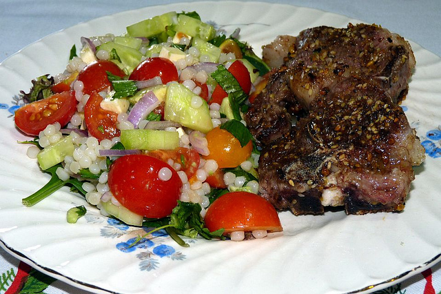 Dukkah-Crusted Lamb with Pearl Couscous Salad