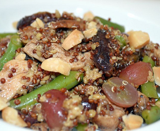 Quinoa, chicken, date & grape salad