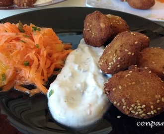 Falafel con salsa de yogur y ensalada de zanahoria / Falafel with yogurt sauce and carrot salad