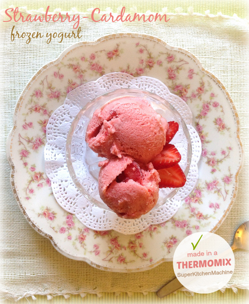 Thermomix dessert: Strawberry-Cardamom Frozen Yogurt