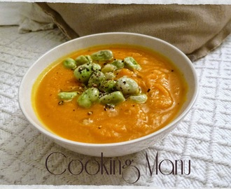 Vellutata di Carote con Fave e Pecorino (Carrots Soup with Fava Beans and Pecorino Cheese)