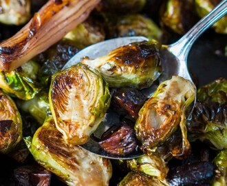 Roasted Brussels Sprouts and Shallots with Mushrooms