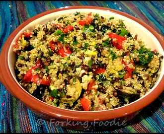 Quinoa, Lentil and Roasted Vegetable Salad, with Sumac, Lemon and Fresh Herbs (includes Thermomix tips)