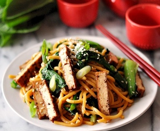 {Vegetarian Friendly Recipe} Tofu, Bok Choy & Broccolini Noodles with Soy-Maple-Sesame Sauce