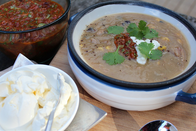 Pork, Kumara & Black Bean Soup with Oven-Roasted Chipotle Salsa