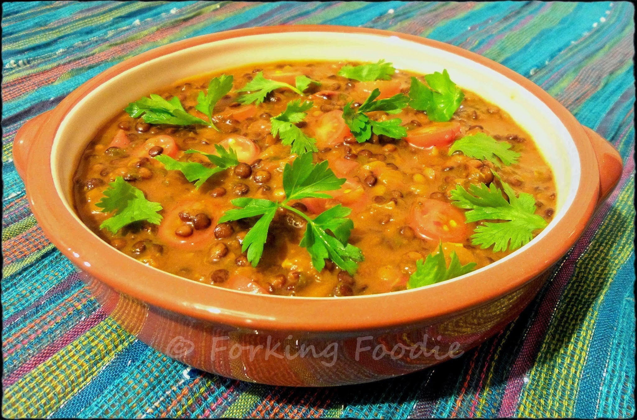 Middle-Eastern Spiced Puy Lentil and Tomato Mélange with Fresh Coriander and Parsley