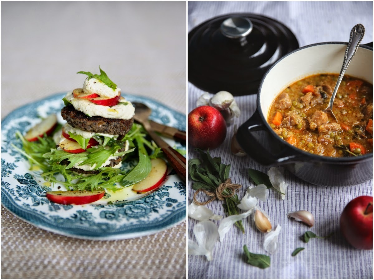 PORTOBELLO MUSHROOM LENTIL BURGERS & APPLE SAGE PORK CASSOULET