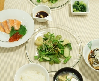 Vegetable Salad in Season and Simmered Saury/季節のサラダとサンマの煮物/สลัดตามฤดูกาล