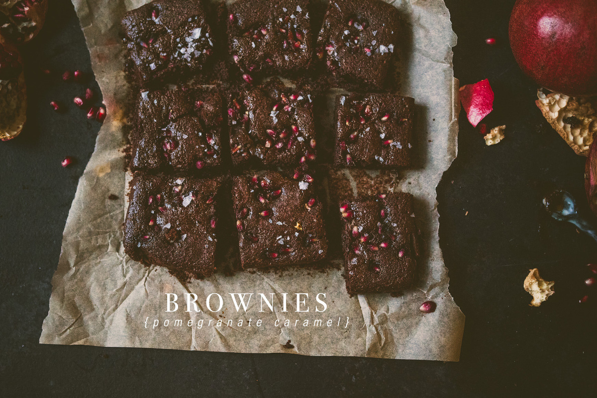 Pomegranate Caramel Brownies with Coconut Flour