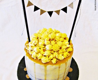 Chocolate Cake with Caramel and Popcorn