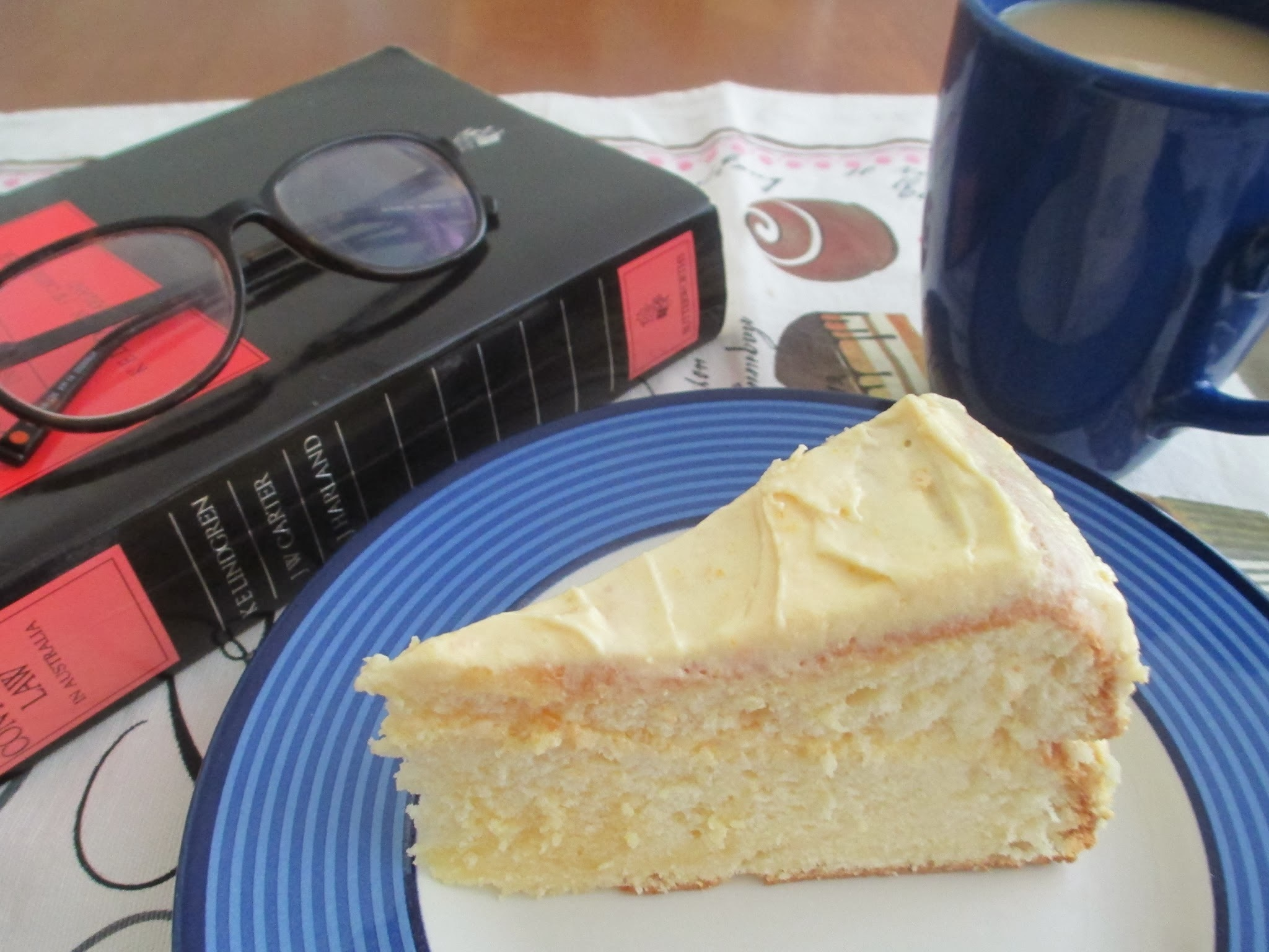 Lemon Chiffon Cake with Zesty Peach Icing for Food 'n' Flix - Stranger than Fiction