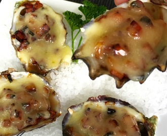 Grilled Oysters Kilpatrick with Cheese