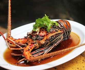 Chinese Style Steamed Live Lobster with Garlic, Ginger, Scallion and Soy Sauce