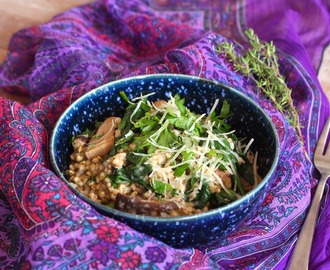 Mushroom, Spinach & Buckwheat Risotto with Lemon & Thyme