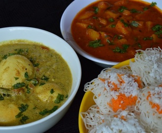 Idiyappam Curry, Noolappam with potato and egg Curry