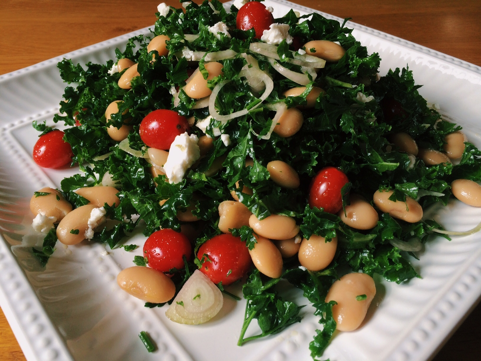 Kale Salad with Butter Beans and Cherry Tomatoes
