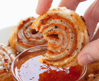 Vegetarian bacon and sweet chilli pinwheels – super easy!