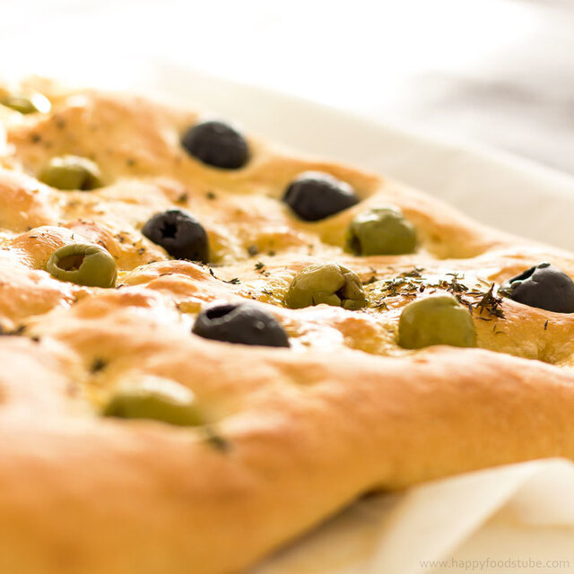 Focaccia Bread with Olives & Thyme