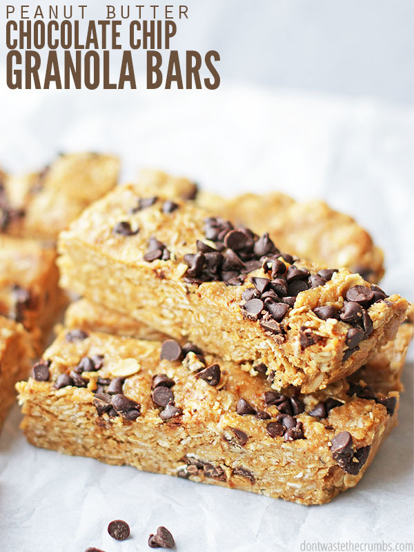 No Bake Soft and Chewy Peanut Butter Chocolate Chip Granola Bars