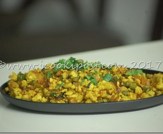 Matar Paneer Bhurji-Scrambled Indian Cottage cheese and Green Peas-How to Make Matar Paneer Bhurji
