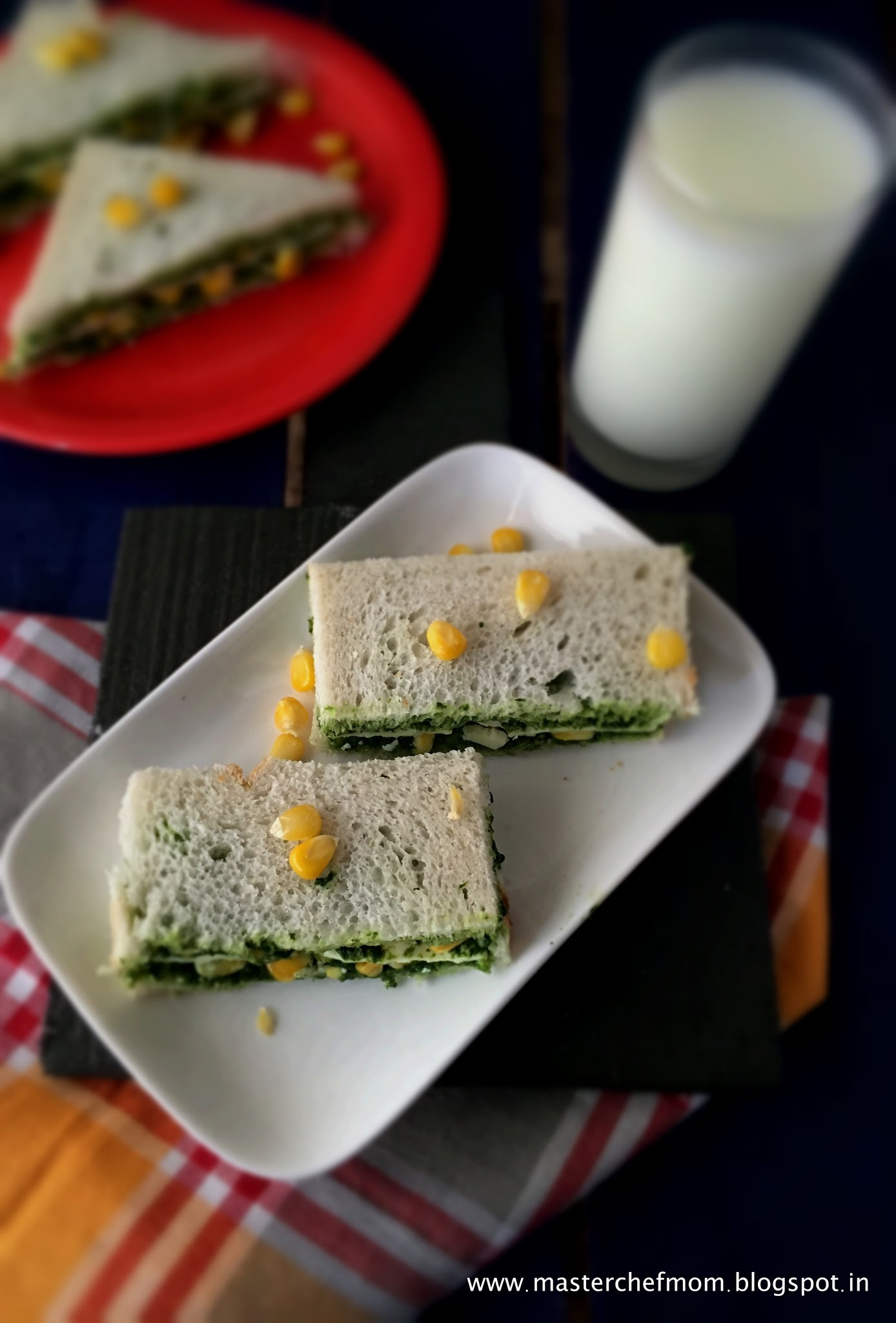 Spinach Corn Cheese Sandwich | How to make Spinach Corn Cheese Sandwich at Home |  With Detailed Stepwise Pictures | Quick and Healthy Lunch Box Recipe
