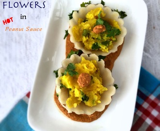 Masala Flowers in HOT Peanut Sauce | Fusion Gluten free Vegan Recipe | How to make Masala Flowers in HOT Peanut Sauce |Stepwise Pictures