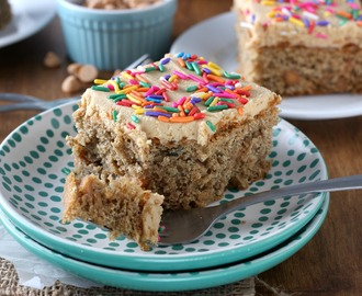 Banana Snack Cake with Peanut Butter Frosting