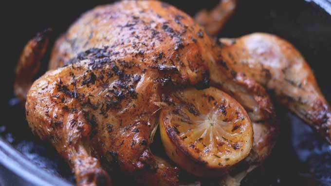 Lemon and Garlic Herbed Roasted Chicken | #SundaySupper