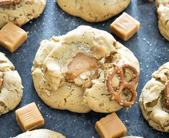 Caramel Stuffed Salted Pretzel Cookies