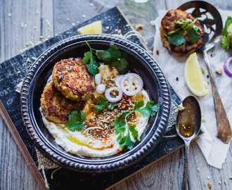 Broken Wheat Dukkah Fritters With Labneh