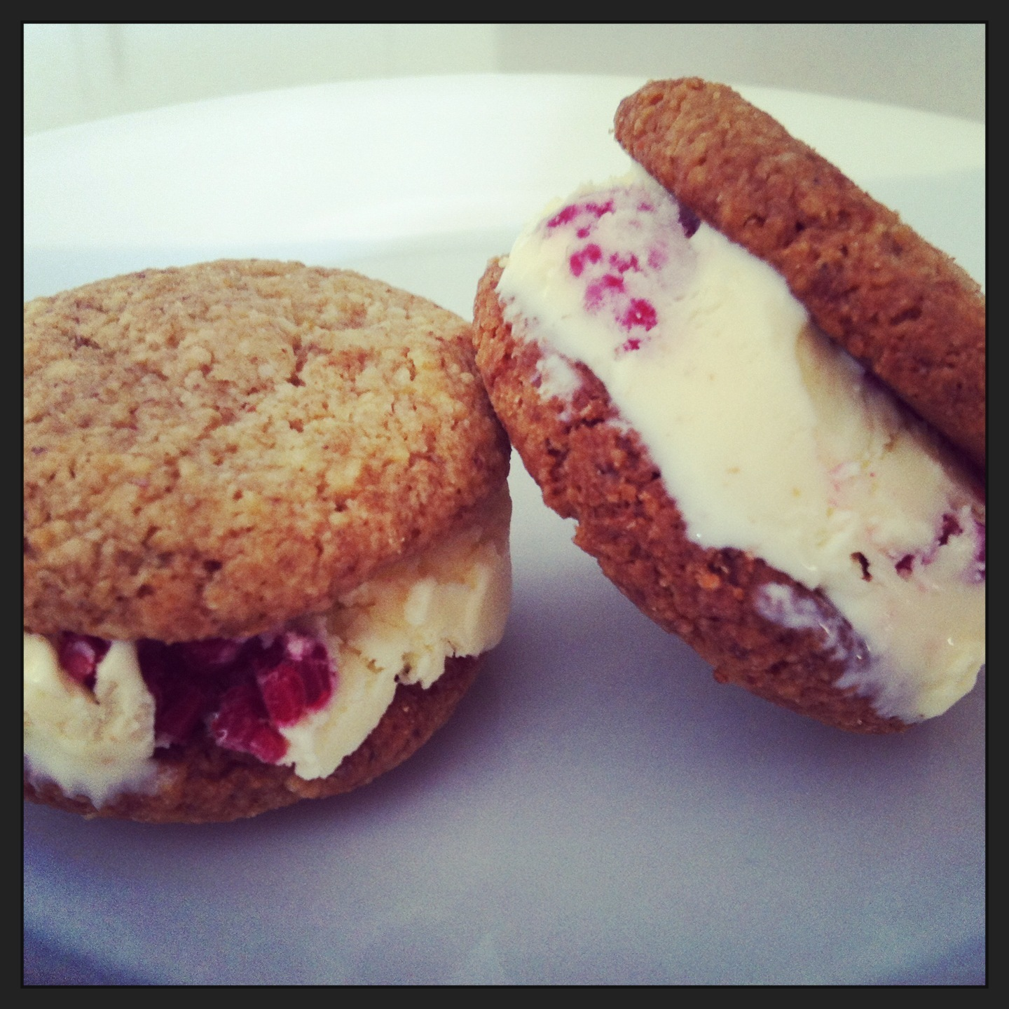 Raspberry cheesecake ice cream sandwich (with gluten free coconut and almond biscuits)