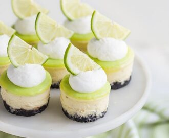 Lime Mini Cheesecakes with Chocolate Crust