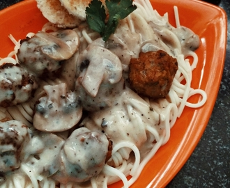 ​Chicken Meat Balls and Speghetti with Mushroom Sauce