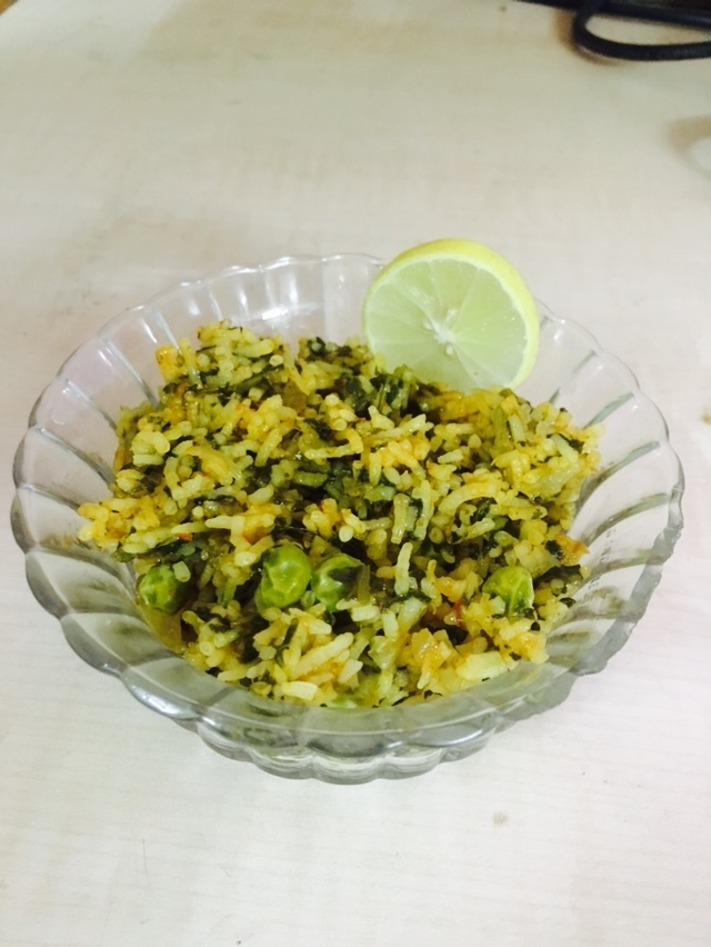 Spinach & peas Rice ( Palak pulao)
