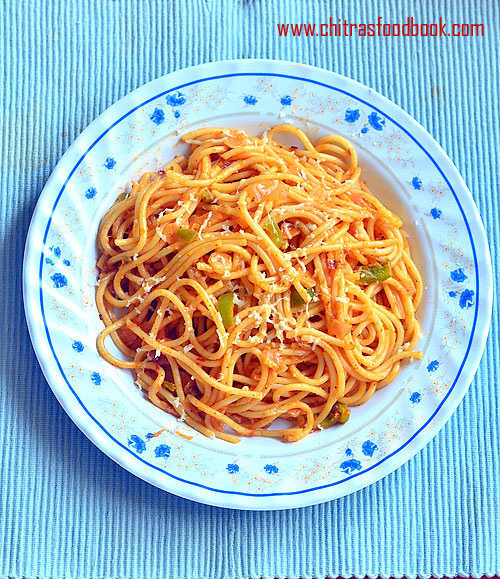 Tomato Spaghetti Recipe – Indian Vegetarian Spaghetti Recipe