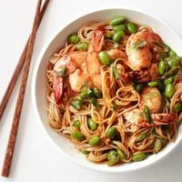 Asian Noodles with Shrimp and Edamame Recipe